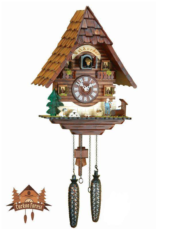 Quartz Cuckoo Clock Waterhole, 13.8inch Quartz Cuckoo Clocks - German Cuckoo Clocks