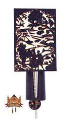 8-Day Cuckoo Clock Silhouette Design, black, 11inch Silhouette Models - German Cuckoo Clocks