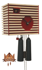 8-Day Cuckoo Clock Bauhaus Design, red, 7.9inch Design Cuckoo Clocks - German Cuckoo Clocks
