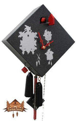 1-Day Cuckoo Clock Art Collection Rhombus black, 9.5inch Design Cuckoo Clocks - German Cuckoo Clocks