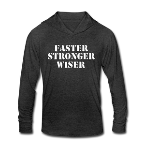 Open image in slideshow, Faster Stronger Wiser Unisex Tri-Blend Hoodie Shirt - heather black