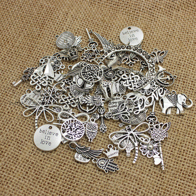 100 Piece Mixed Antique Silver Bracelet/Necklace Charms