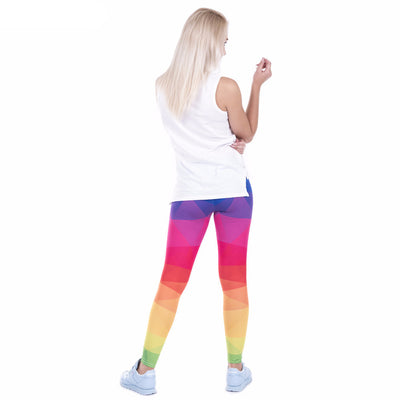 One Size Colorful Rainbow Print Leggings