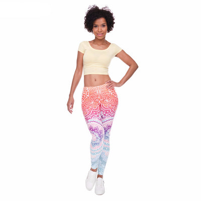One Size Ombre Pattern Print Leggings