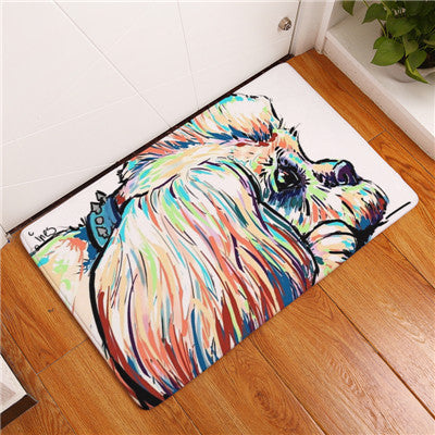 Modern Dog Adorable Print Anti-Slip Welcome Mats