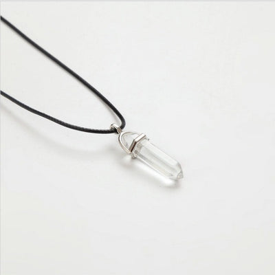 Hexagonal Natural Crystal Pendant Necklace