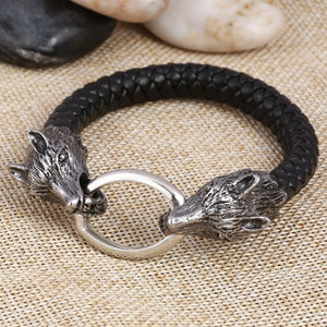 **New Arrival** Men Stainless Steel Leather Dire Wolf Head Bracelets