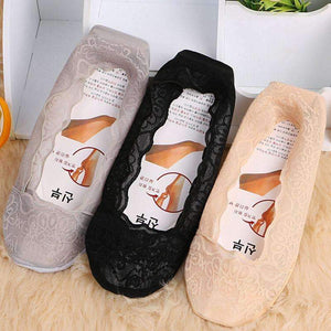 Women / Girls Cotton Lace, Antiskid, Invisible Liner, No Show Low Cut Socks