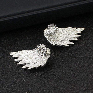 Women's Angel Wings Stud Earrings + Rhinestone