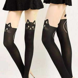 New Sexy Women  Cat Velvet Knee High Socks