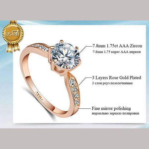 1.75ct AAA Zircon Engagement Rings for women,  Rose gold color
