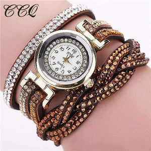 CCQ Women Rhinestone Bracelet Watch