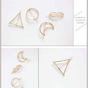 Gold/Silver Plated, Triangle, Circle, Moon, Hair Clips