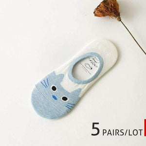 5 Pairs of High Quality Cat Themed Socks (for women) - Available in Single & Multi-Color Packs