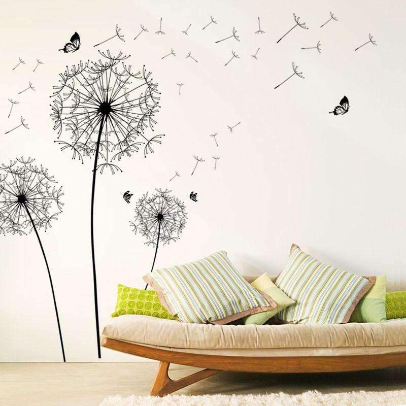 Large Black Dandelion Flower Wall Stickers With Butterflies