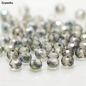 Isywaka Mixed Colors 4*6mm 100pcs Rondelle  Austria Faceted Crystal Glass Beads