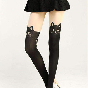 New Women  Sexy Cat Tail Velvet Knee High Socks Hosiery Tattoo Stockings  PY3 L4 B3