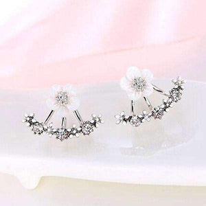 Flower Crystals Stud Earrings for Women, Rose gold color Double Sided