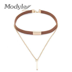 Modyle Black and Brown Velvet Choker Necklaces, Gold-Color