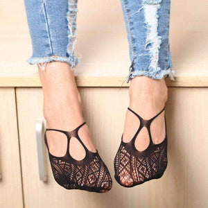 1 pair Sexy Women Cross  Lace No Show, Antiskid, Invisible Liner, Low Cut Socks