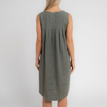 Linen Sleeveless Dress  with Back Pleats by Jump Clothing - Navy