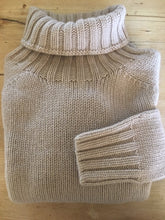 Scottish Knitwear Chunky Lambswool Roll Neck - Sand