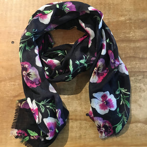 Wearable Art Wool and Silk Scarf Pansies