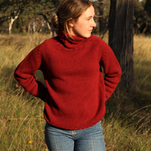 Scottish Knitwear Chunky Lambswool Roll Neck - Dark Red