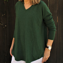 Curved Hem Vee Neck Jumper - Green - Bridge and Lord