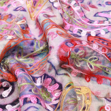 Wearable Art Wool Scarf/Shawl with Silk Emboidery Pinks