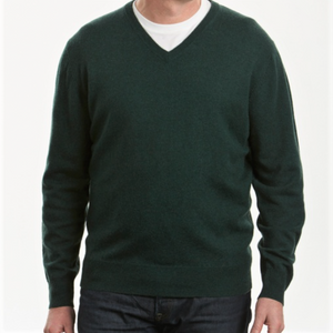 Australian Merino and Cashmere Men's vee neck jumper from Bridge and Lord
