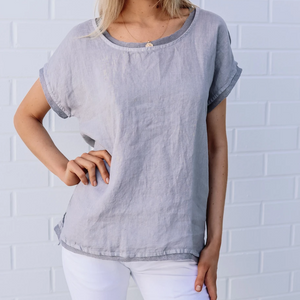 Linen Gauze Top by Haris Cotton - Grey