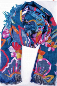 Wearable Art Wool Scarf/Shawl with Silk Emboidery Blue