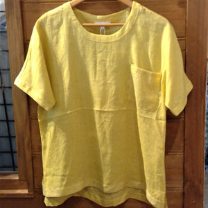 Linen Top With a Sprinkling of Sequins by Jump Clothing - Yellow
