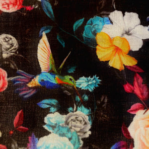 Wearable Art Wool and Silk - Humming Bird Print Black