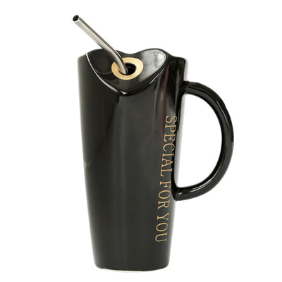 SPECIAL FOR YOU Heart-shaped Ceramic Mug With Stainless Steel Straw - www.moinasiashop.com
