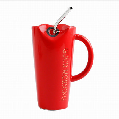 GOOD MORNING Heart-shaped Ceramic Mug With Stainless Steel Straw - www.moinasiashop.com