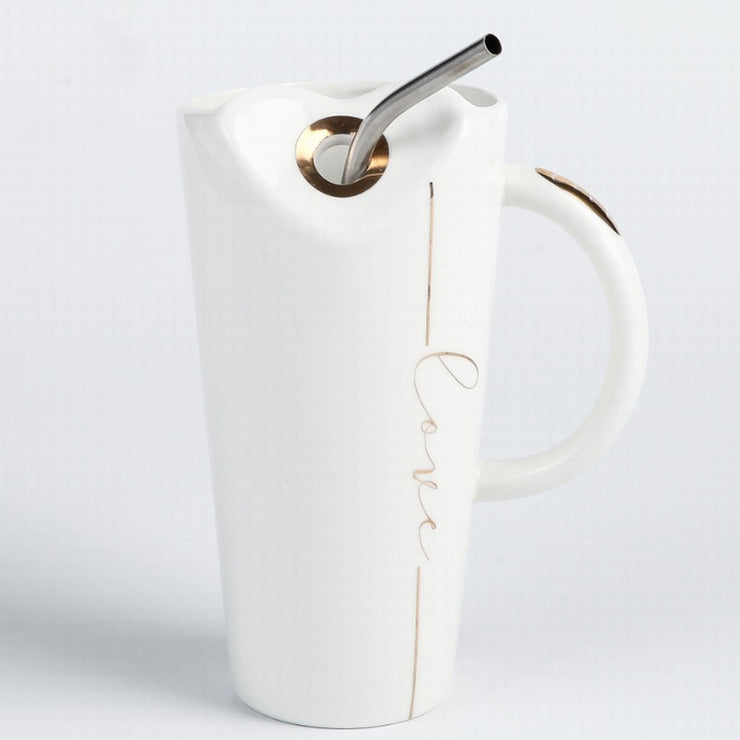 LOVE Heart-shaped Ceramic Mug With Stainless Steel Straw