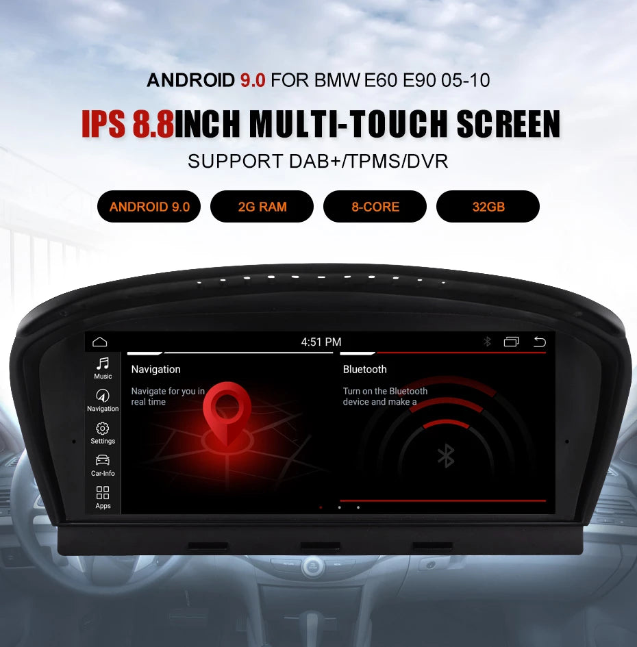 Android 9 Autoradio Head Unit for BMW 520 - 550