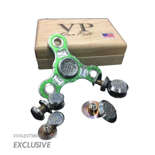 Van Pelt Precision Tri Fidget Spinner Anodized Green  Aluminum Body with Interchangeable Hammered weights & buttons