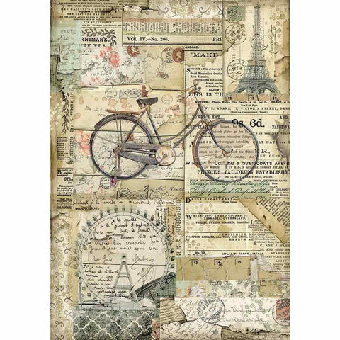 BICYCLE Rice Paper by Stamperia (A4) - Rustic Farmhouse Charm