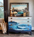 BLUE WAVE Redesign Transfer (91.44cm x 66.04cm) - Rustic Farmhouse Charm