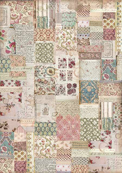 BOTANIC PATCHWORK Rice Paper by Stamperia (A3) - Rustic Farmhouse Charm