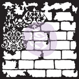 Redesign Mixed Media Stencil - Brick and Damask