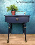 Midnight Blue & Bronze Side Table