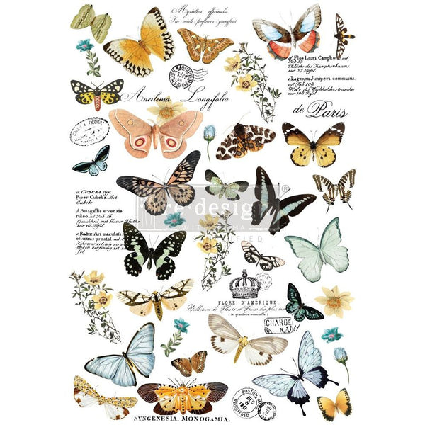BUTTERFLY DANCE Redesign Transfer (83.82cm x 58.42cm) - Rustic Farmhouse Charm