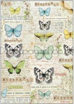 BUTTERFLY Rice Paper by Stamperia (A4) - Rustic Farmhouse Charm
