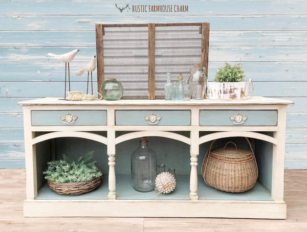 Coastal Sideboard with Arches - Rustic Farmhouse Charm