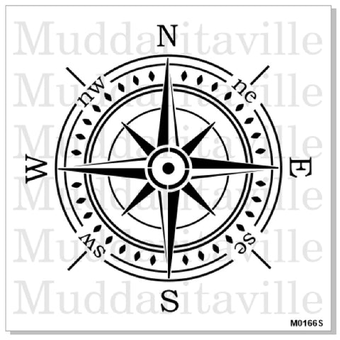 DETAILED COMPASS ROSE Stencil by Muddaritaville (33.02cm diameter) - Rustic Farmhouse Charm