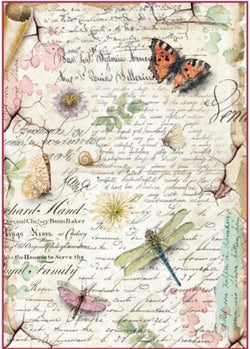 DRAGONFLIES & BUTTERFLIES Rice Paper by Stamperia (A4)